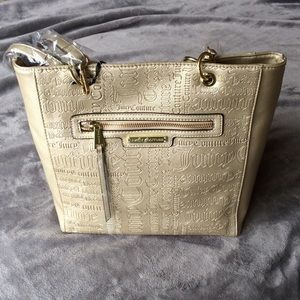 NWT Juicy Couture Gold Embossed Word Play Tote Bag